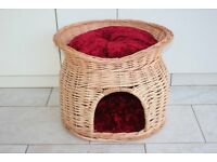 Wicker two tier cat/dog pod/bed basket. With velvet cushions