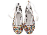 flossy style womens size 5 floral canvas ballerina pump flat tie up