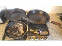 X3 frying saute pans frypan commercial restaurant cookware steel and heavy gauge alu