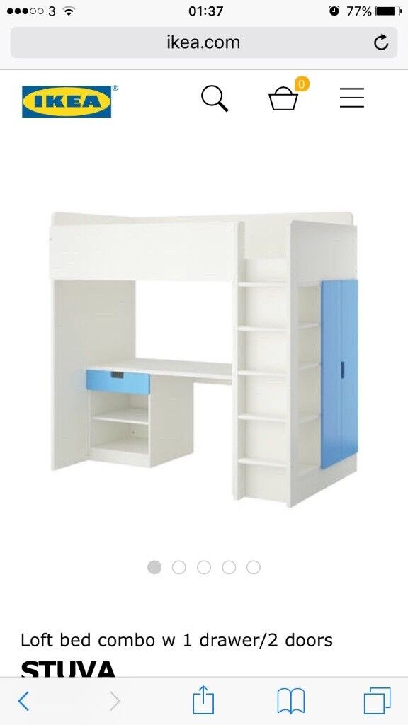 Bed with desk and storage
