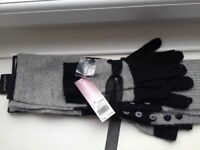 ** Brand New ** PRINCIPLES Ladies Matching Black / Grey Scarf and Gloves