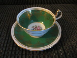 "Vintage ""Aynsley"" Cup & Saucer -Green Band with gold filigre"