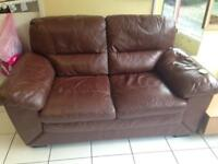 Brown 2 leather sofa