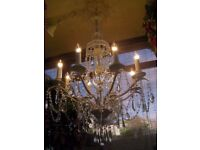 (CAN DELIVER THROUGHOUT THE UK) ~Very Large~ BEAUTIFUL 4 FOOT TALL CRYSTAL CHANDELIER