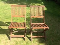 Wooden garden chairs and table