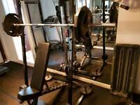 Finnlo by Hammer weights gym bench very heavy duty kit.