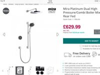 Mira Digital HP/Boiler Platinum Shower Mixer 1.1796.003 Brand New