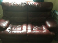 Reclining leather two-seater sofa - very good condition