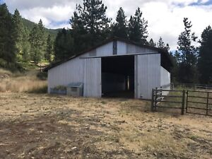 Horse barn and paddocks for rent in Armstrong.