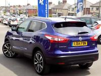 NISSAN QASHQAI 1.5 DCi TEKNA 5dr * Leather Nav & Pan Roof * (blue) 2014