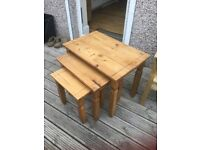Real oak nest of tables