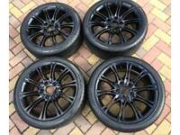 Genuine 18 inch BMW MV2 Alloy wheels in gloss black, no chips or scratches looks as new