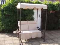 2 Seater Deluxe Garden Swing Seat - padded cushions, cover included, in excellent condition