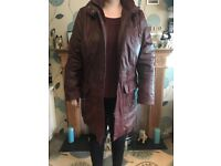 Ladies burgundy leather coat size 18 used only worn twice good condition
