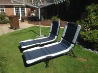 Quest Elite Chatsworth Navy Sun Loungers/Camp Beds x 2
