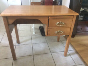 Antique maple school desk with 2 drawers and a pull out shelf