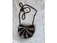 Ladies Black and Silver Beaded Evening Bag