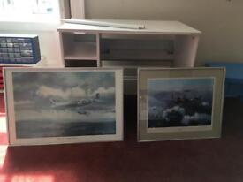 Paintings - WWII Spitfire and Lancaster