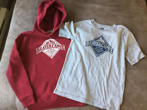 Beaver canoe hoodie and t shirt youth large New without tags