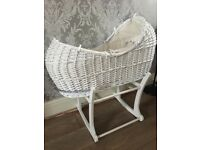 White Wicker Moses Basket with Stand