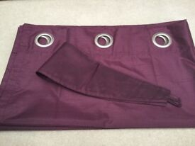 Dunelm 'Nova' Aubergine (Purple) Lined Eyelet Curtains Approx 112cm x 137cm