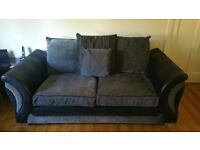 2 seater sofa, armchair, footstool, grey and black, fabric with leather effect arms. Good condition.