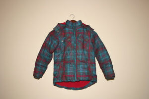 GIRL WINTER JACKET COLOUR TURQUOISE AND RED BRAND YIGGA