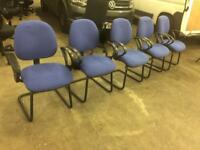 6 X Blue reception waiting visitor chairs. Delivery