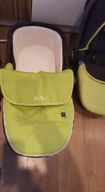 Silvercross wayfarer - lime green carseat and carrycot and blue hood and apron