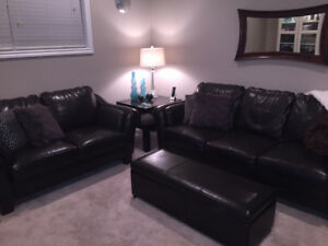Brown Leather couch & loveseat set with side table & ottoman