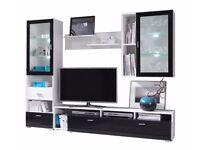High gloss wall unit (TV stand, cabinets, shelf)