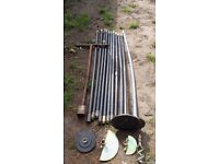 Set of drain rods with 6 diffrent ends and metal conecters manhole cover bar