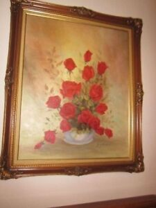 Large Oil Painting of Red Roses