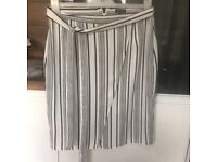 Size 14 cross over skirt white and black pinstriped