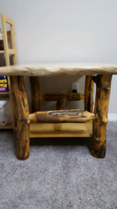 2 rustic log end tables