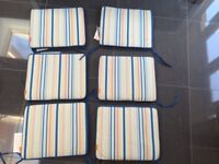 Multi colour seat cushions X 6 brand new