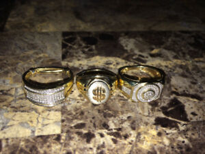 2 diamond rings, 1 solid gold. 10k