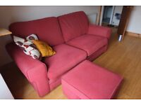 super-comfy gorgeous red sofa-bed with matching ottoman and cushion covers