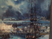 watercolour of h.m endeavor in whitby