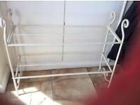 Sturdy and strong metal shabby chic shoe rack
