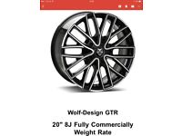 GTR 20 inch alloy rims 8j fully specific load rated gloss black cut & polished face