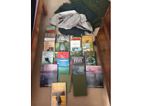 Trout fishing books plus 2 Heron bouyancy aids and 3 fishing vests