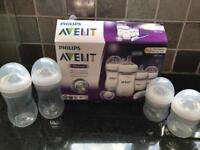 Advent bottles and manual breast pump