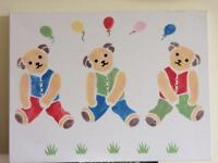 Teddy bear stencil canvas picture