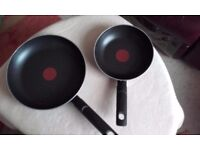 Tefal 2 piece Optimal Technology non-stick frying pan set with Thermo-Spot - used
