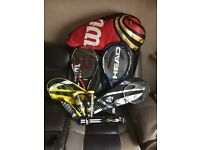 Tennis rackets, badminton rackets ect