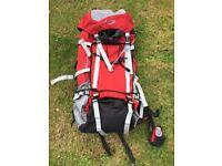 Large Travel Rucksack / Backpack (red, black and grey)