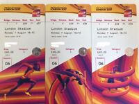 IAAF Athletics World Championships 3*tickets Face Value Monday 7th August 2017 Laura Muir in 1500m