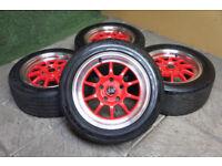 "Genuine Rota GT3 15"" Alloy wheels 5x114.3 Toyota MR2 Civic EK9 JDM Alloys"
