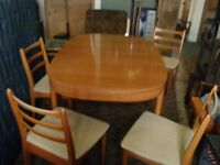 RETRO MID-CENTURY SCHREIBER EXTENDING DINING TABLE AND 4 CHAIRS, DUTCH G PLAN STYLE